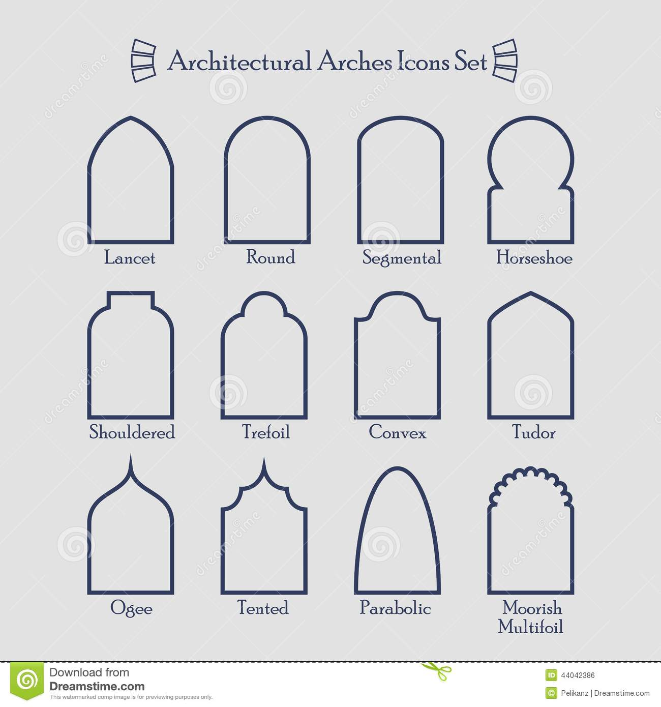 Set Of Thin Outline Common Types Architectural Arches Icons