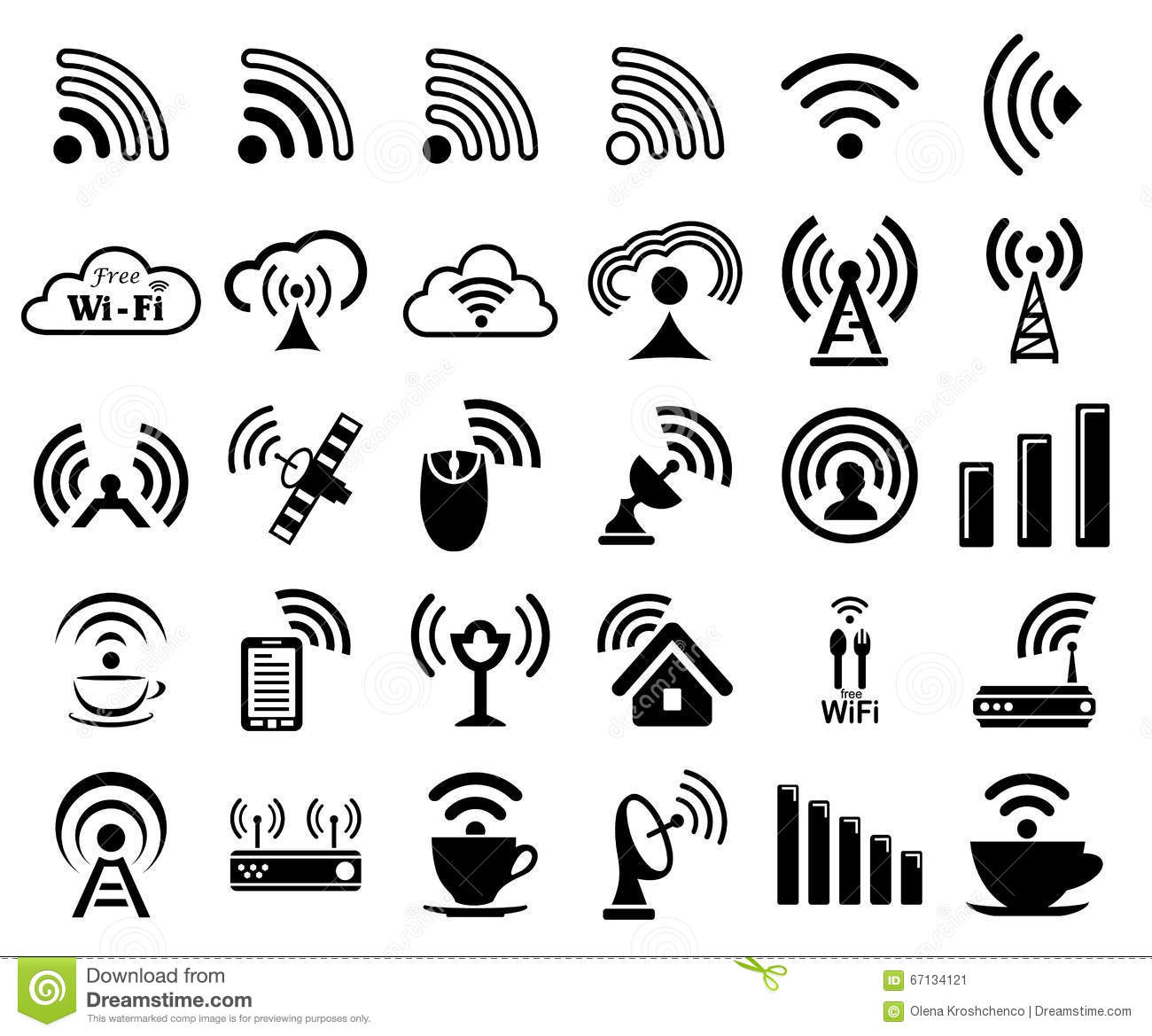 set of thirty wifi icons cartoon vector