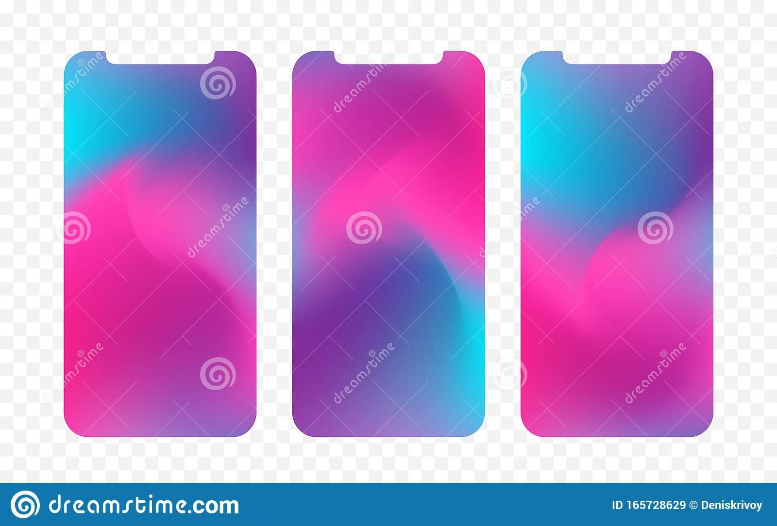 Set Three Abstract Colorful Screen Wallpaper Backgrounds