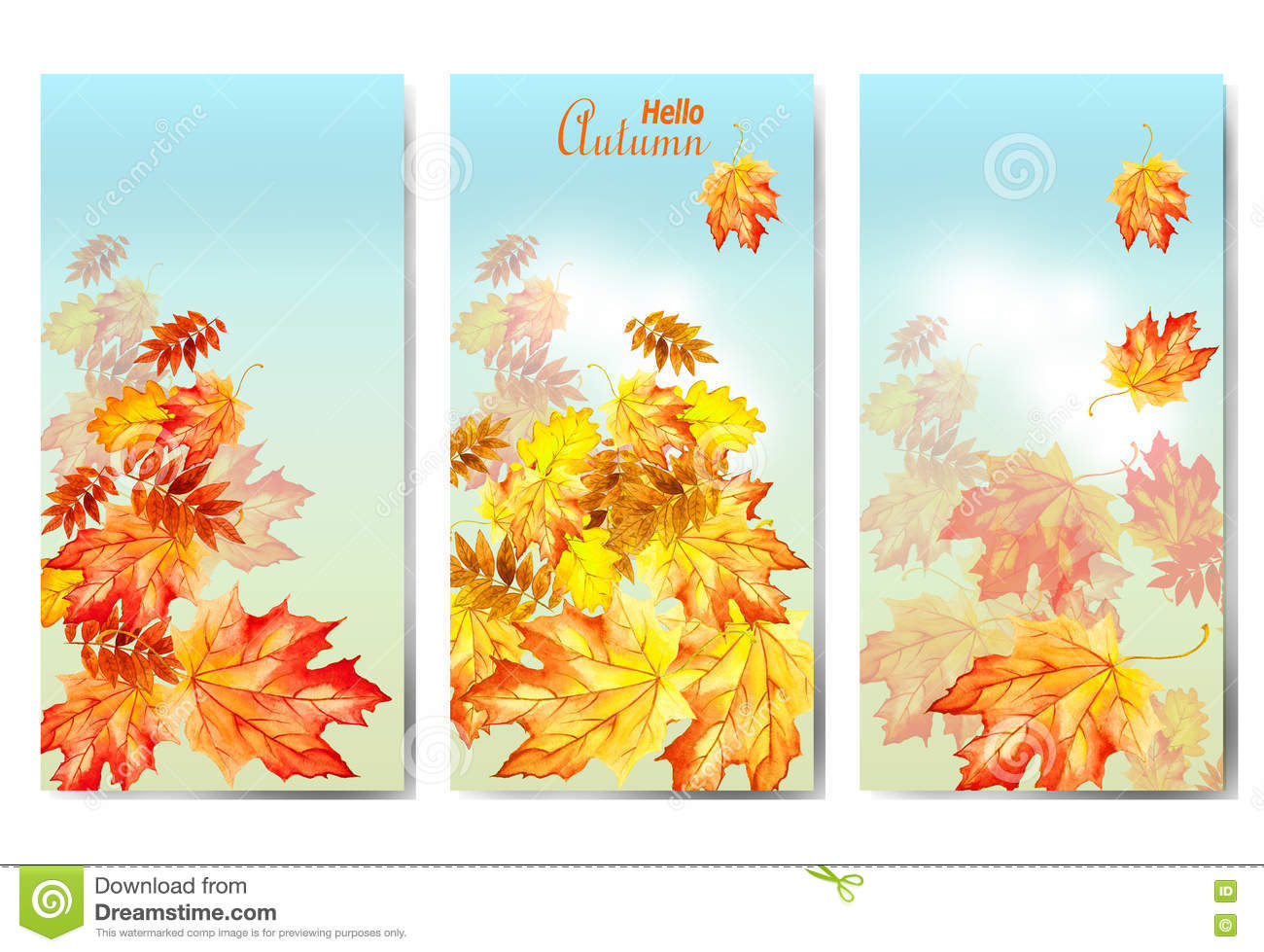 Set of three banners with colorful autumn leaves.