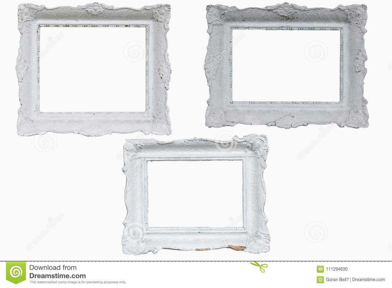 Three Beautiful White Baroque Frames Stock Photo - Image of refined ...