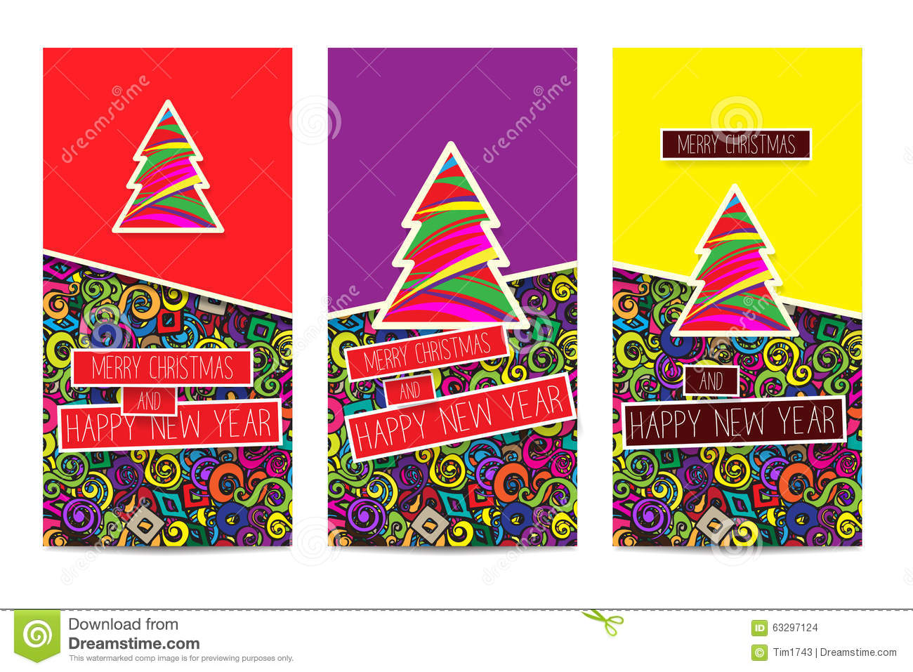 Set Of Three Bright Colorful Classic Christmas Greetings Cards Stock