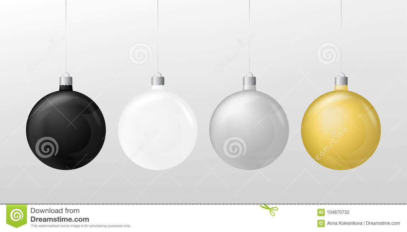 Set Of Three Christmas Balls White Black Gold And Silver On A