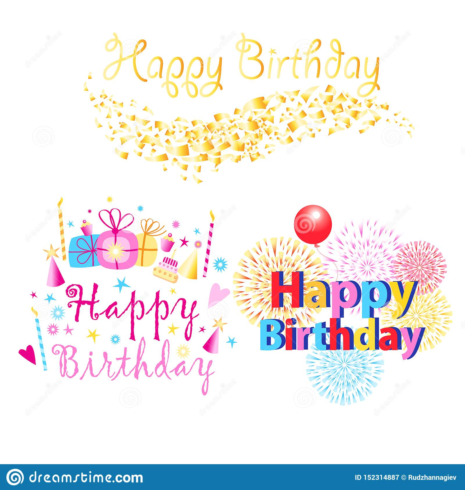 Set of three colorful Happy Birthday greeting texts with presents and candles