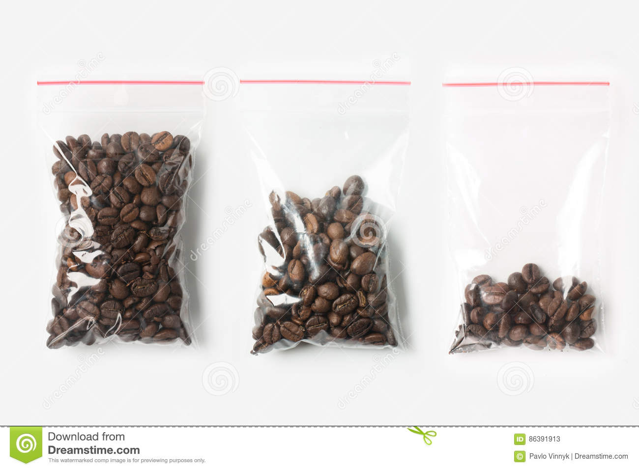Set of three EMPTY, HALF AND FULL Plastic transparent zipper bag with coffee beans isolated on white. Vacuum package mockup with r
