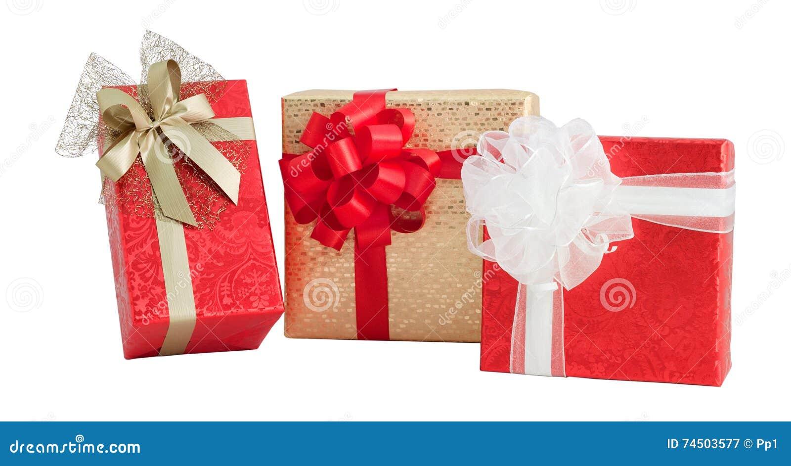 Set Three Gift Box Red Gold Shiny Paper Wrap Ribbon Bow Isolated