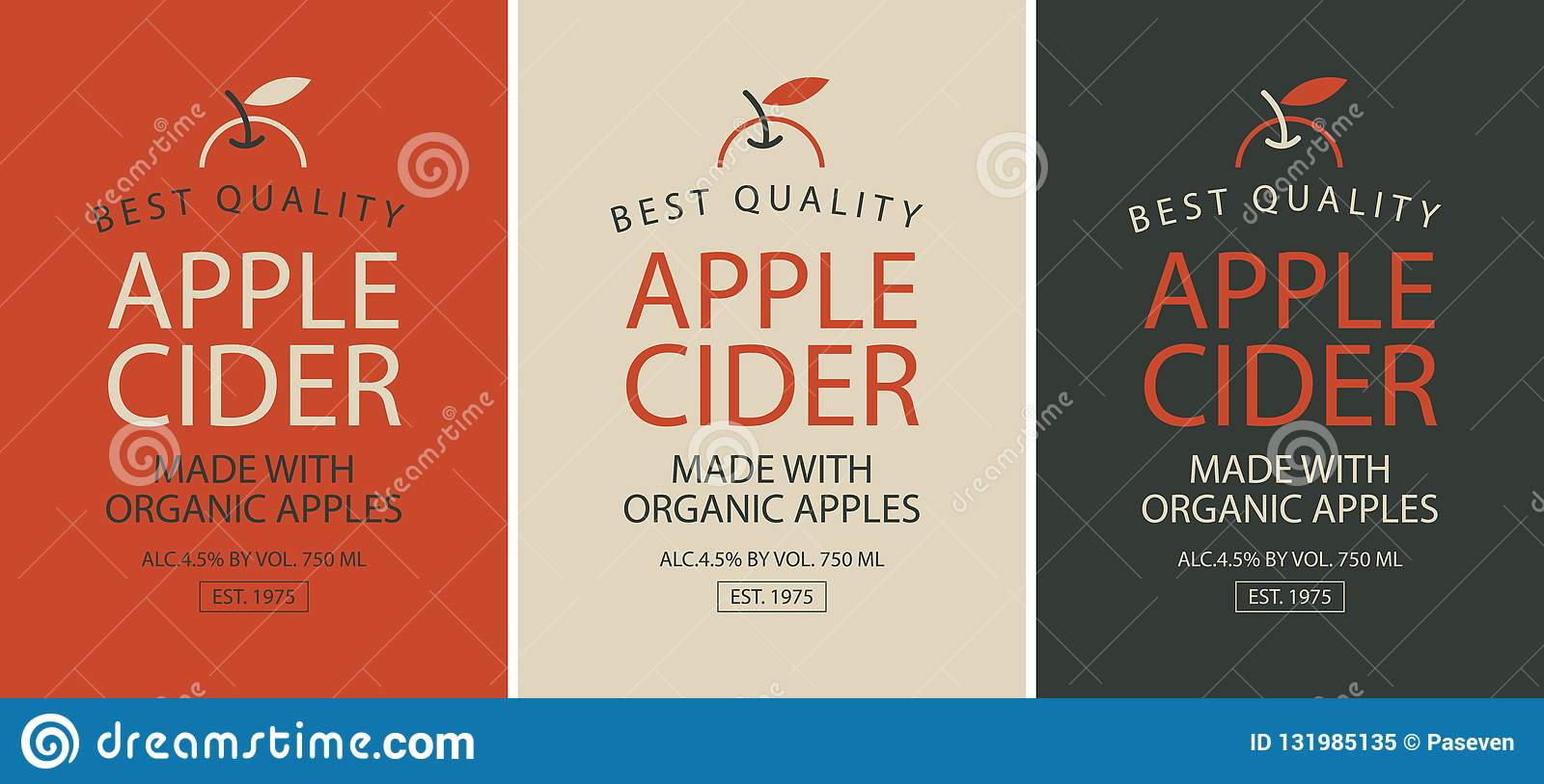 Set Of Three Labels For Apple Cider With Apple Stock Vector