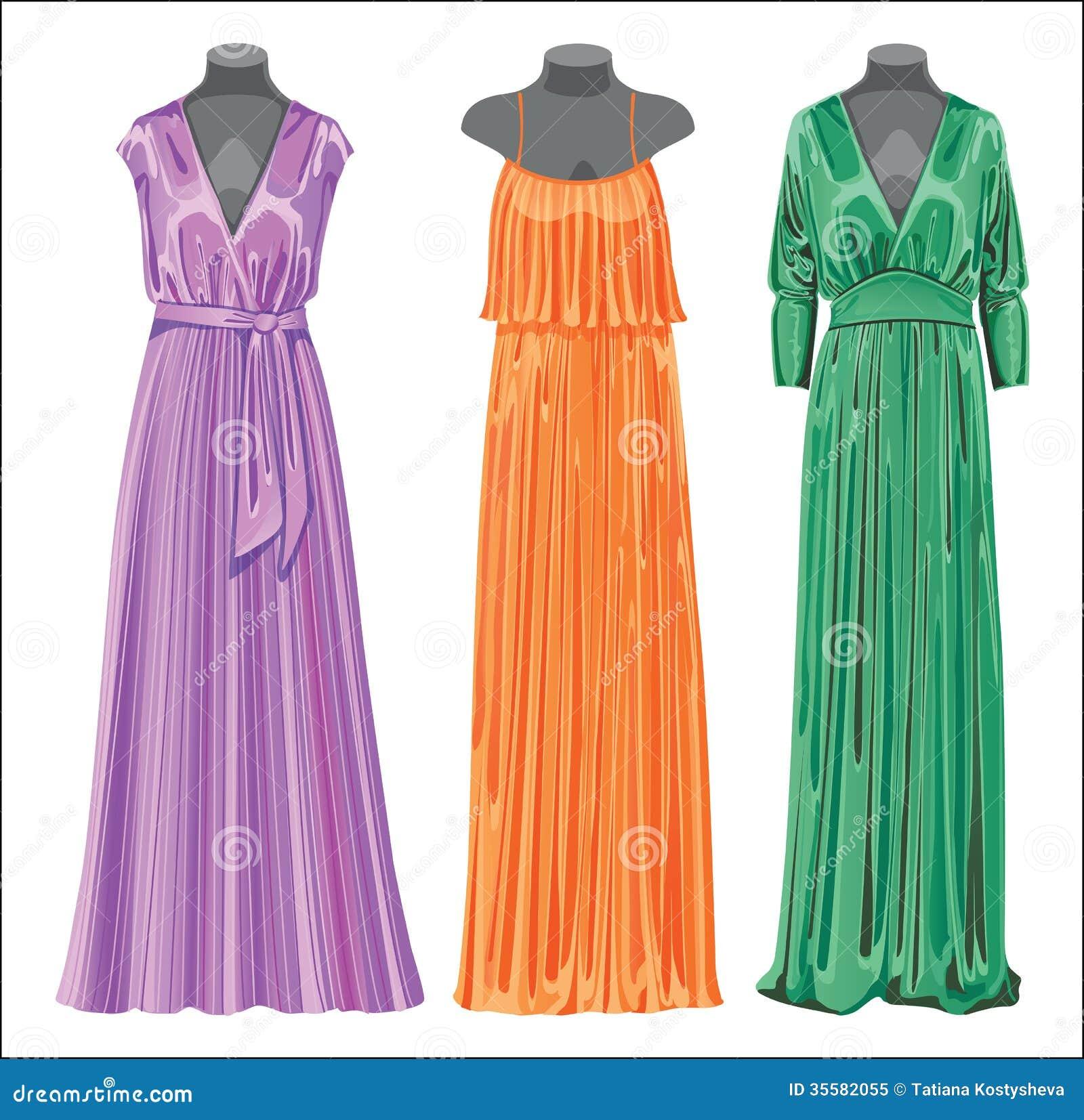 Set Of Three Long Evening Elegant Silk Dresses Stock