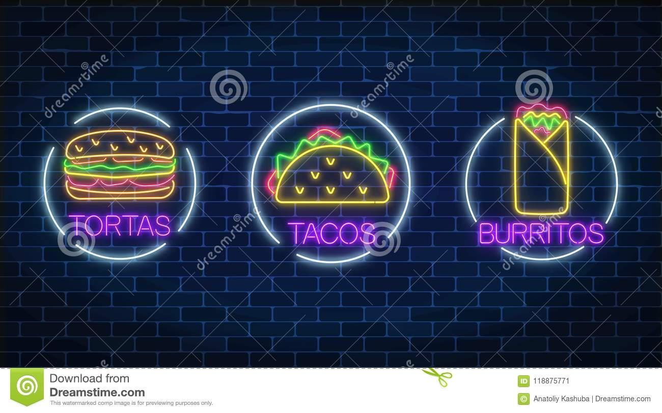 Set Of Three Neon Glowing Signs Of Tortas, Burritos And