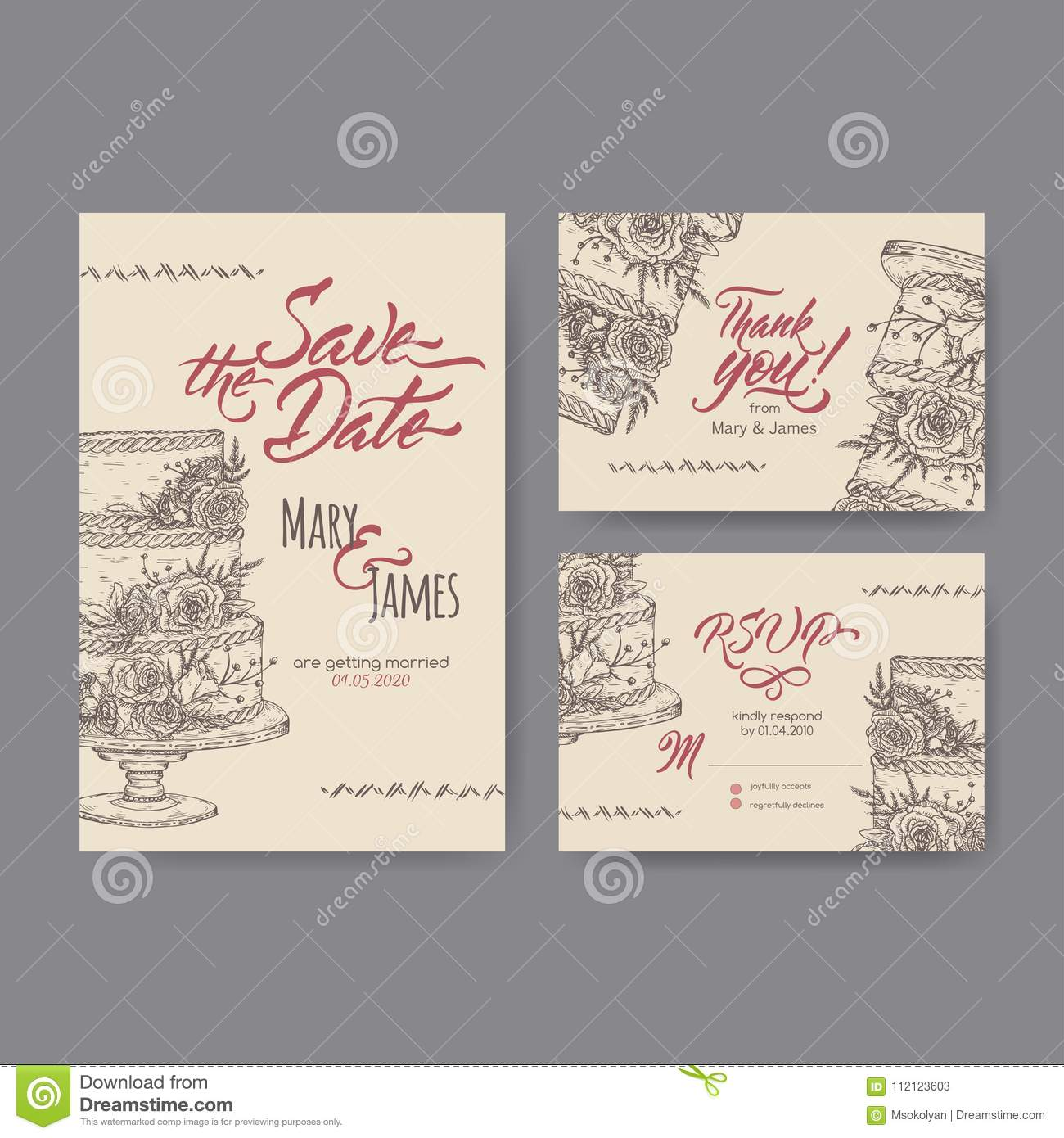 Set Of Three Original Attractive Wedding Cards Based On Cake Sketch ...