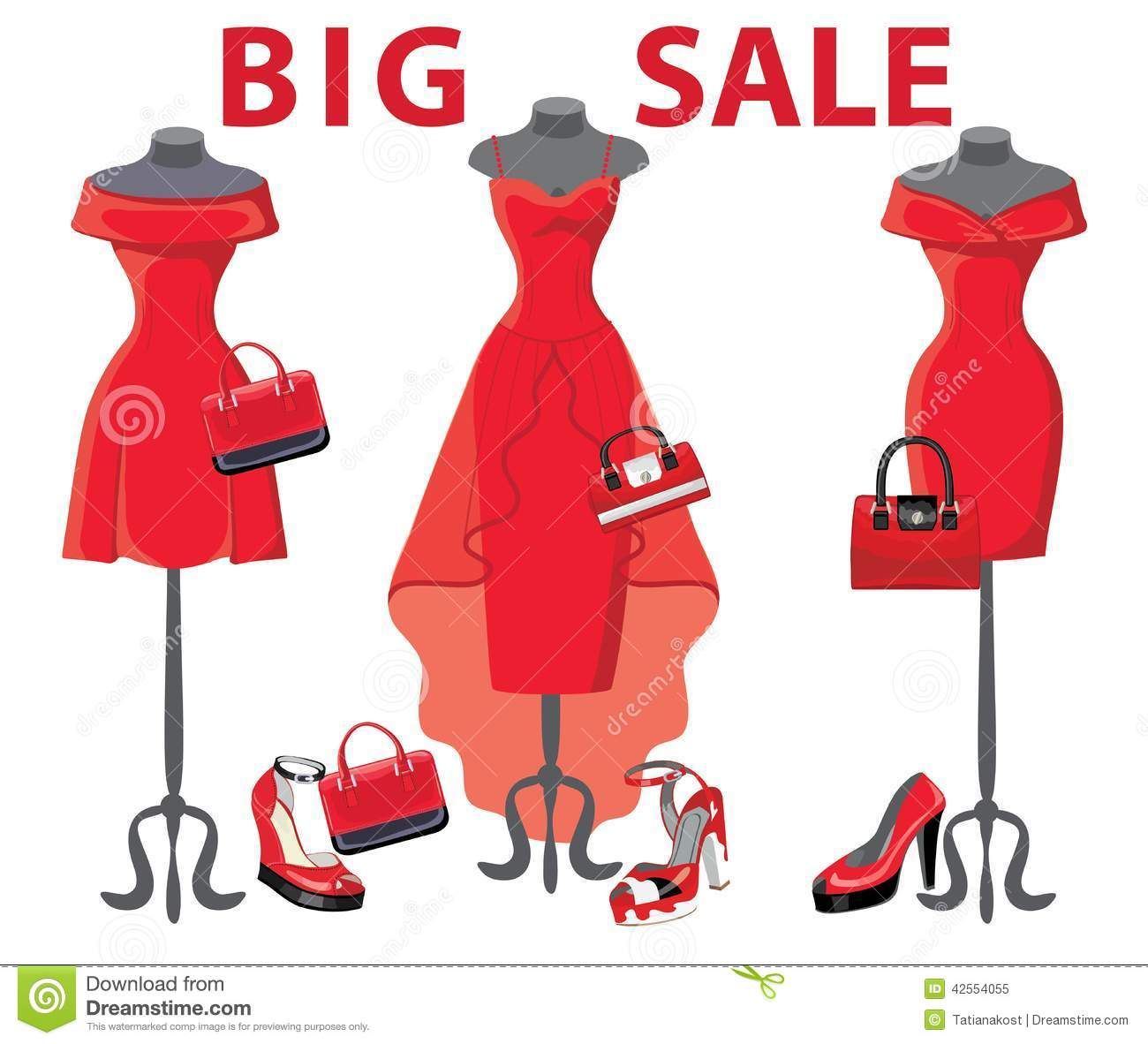 Set Of Three Red Coctail Dresses With Accessories Big Sale Stock Vector Image 42554055