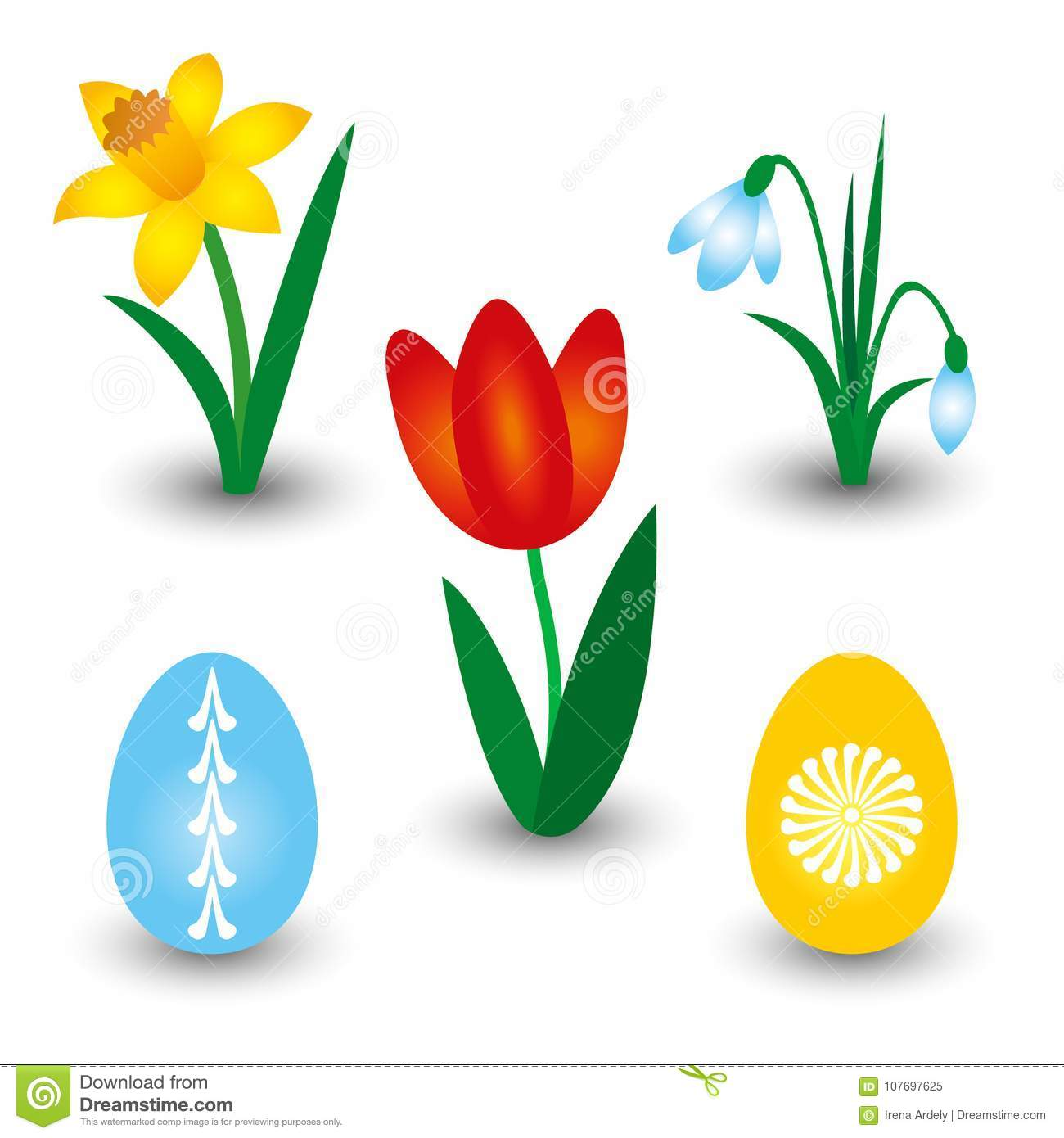 Set Of Three Spring Flowers And Two Easter Eggs With Pattern