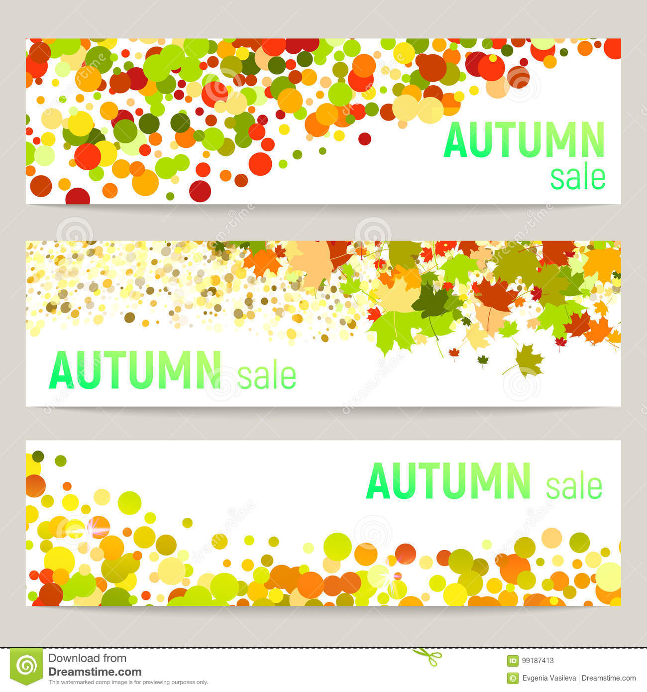 Set of three vector banners with colorful autumn leaves and circles on a white background