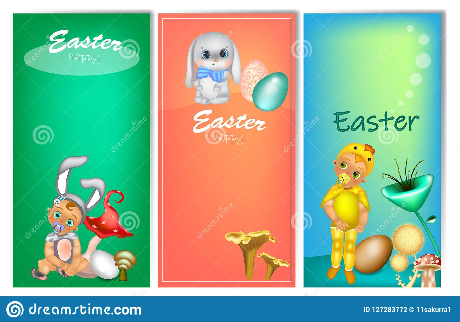 Set of three vertical Easter banners with cute kids in costume
