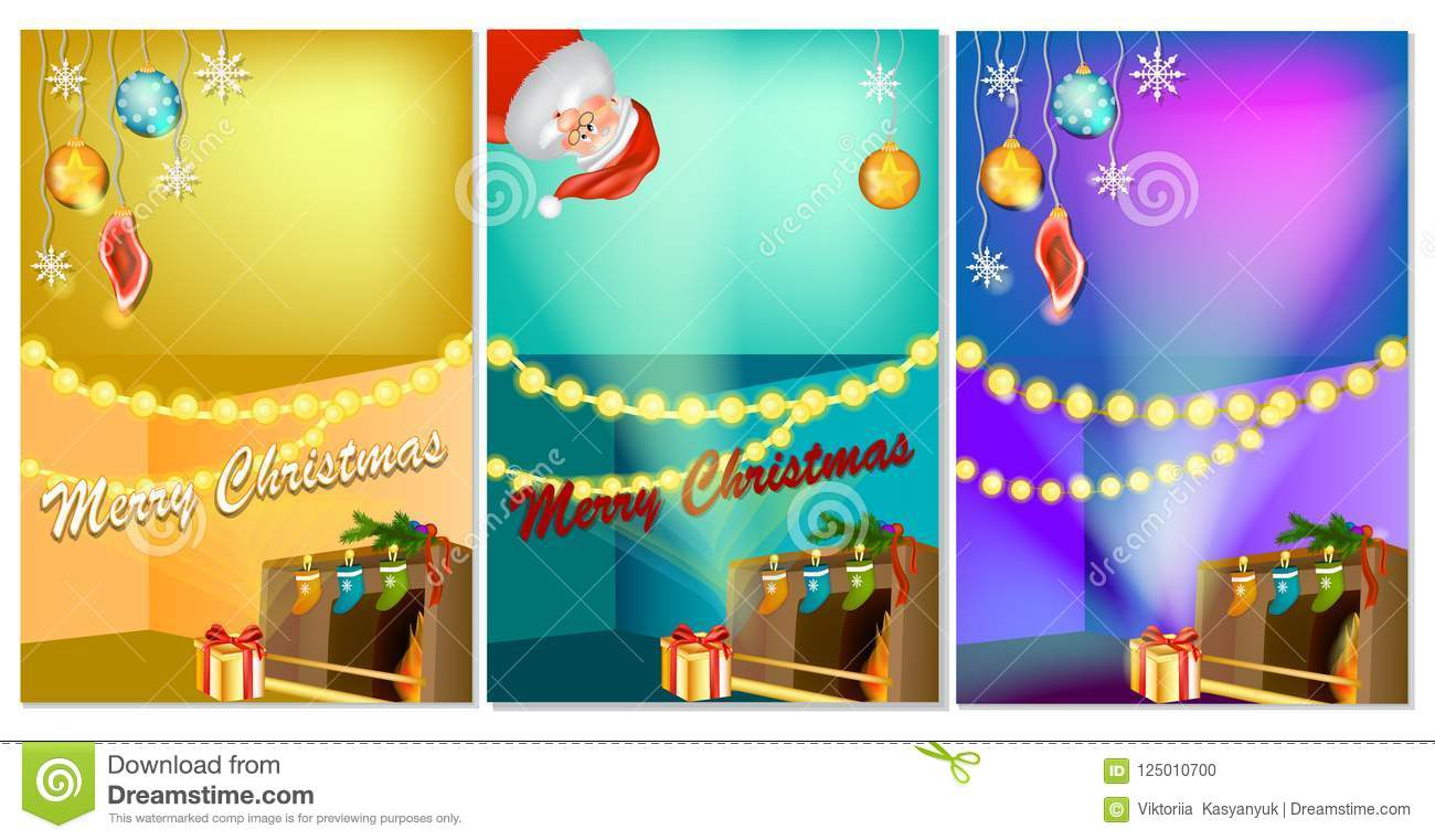 set of three vertical new year banners with christmas cartoon home interior with hot fireplace