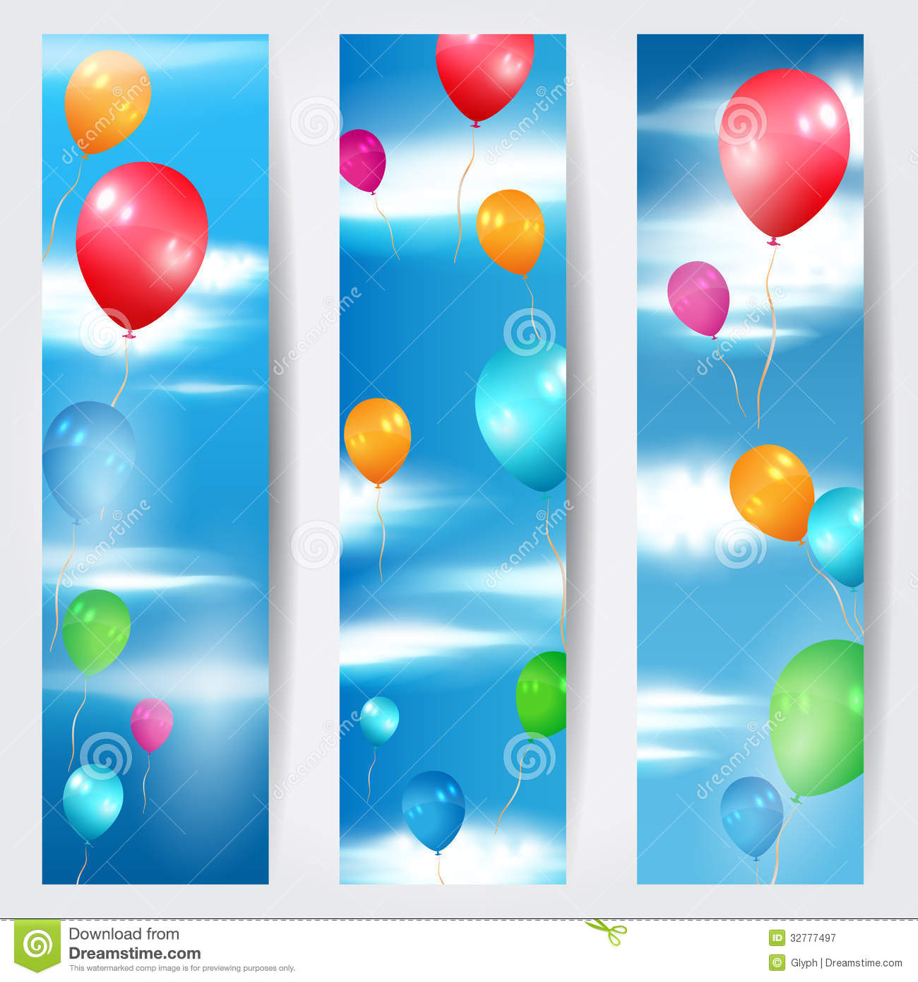Set Of Three Web Banners With Balloons Flying In T Stock