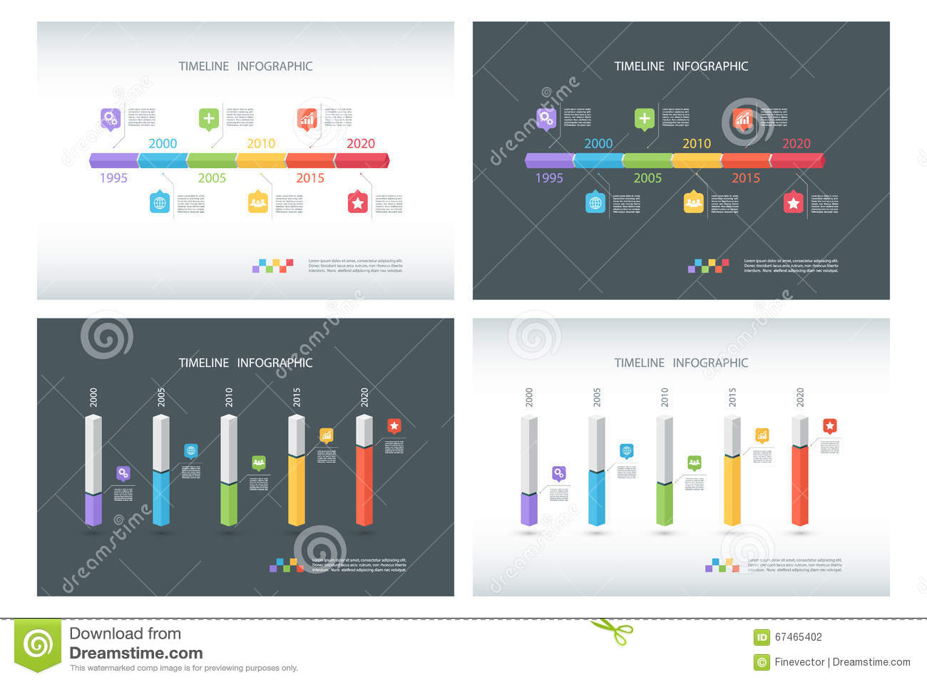 set of timeline infographic design templates isometric template 3d