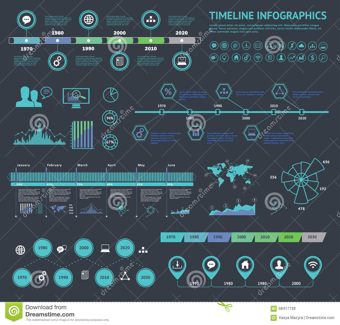 Set of timeline Infographic with diagrams and text. Vector Concept Illustration for business presentation, booklet, web site etc.