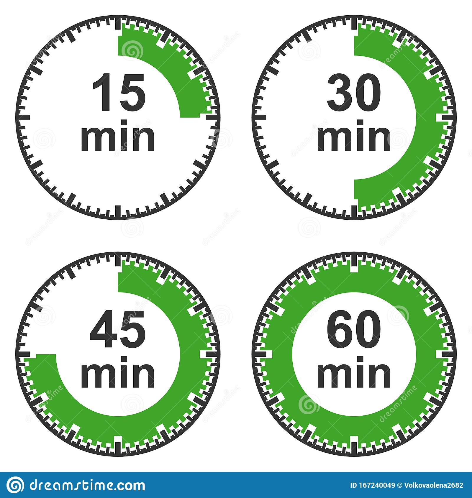 a set of timers  fifteen minutes  thirty minutes  forty