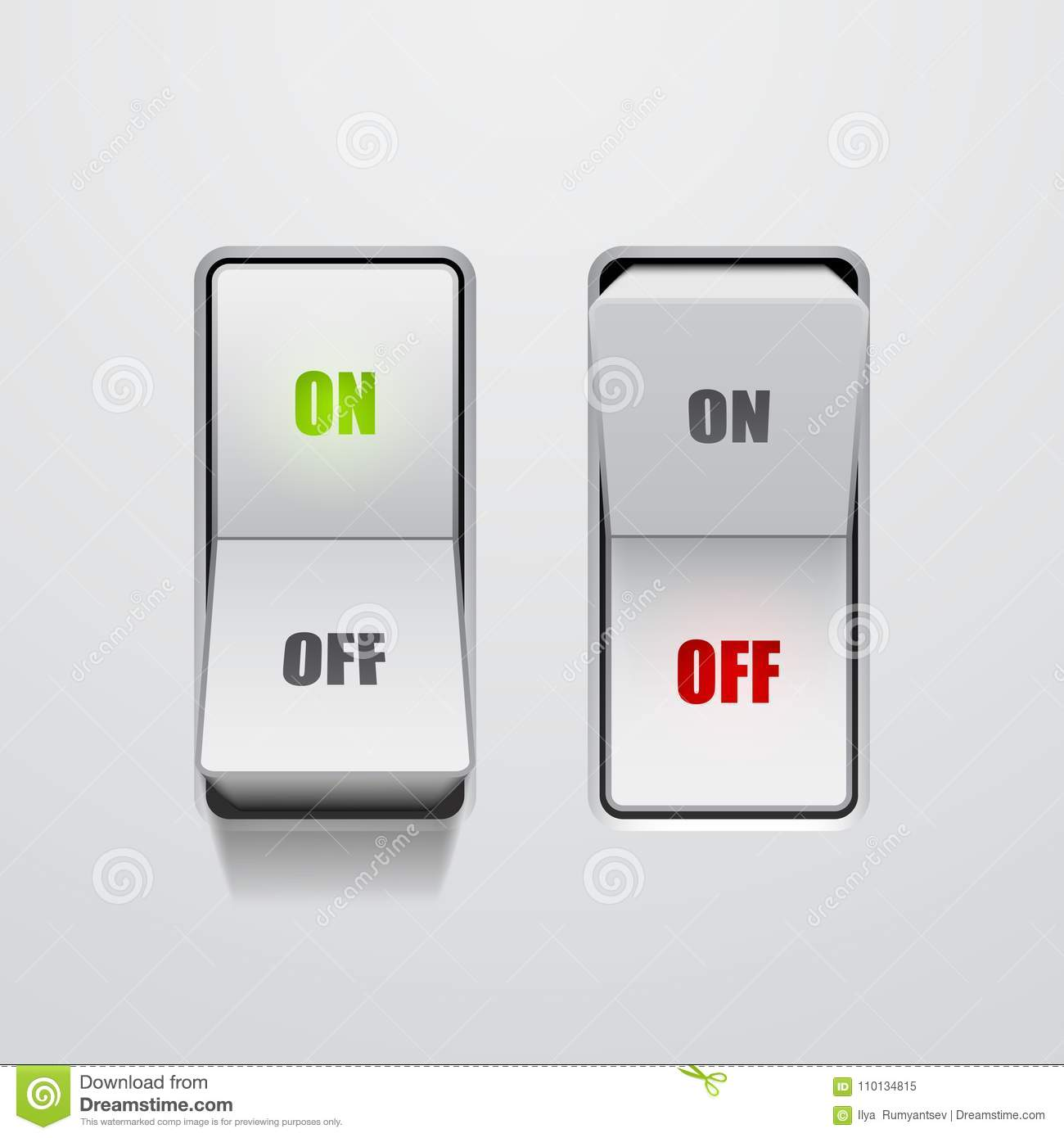 Set Of Toggle Switches In On And Off Positions Stock Vector
