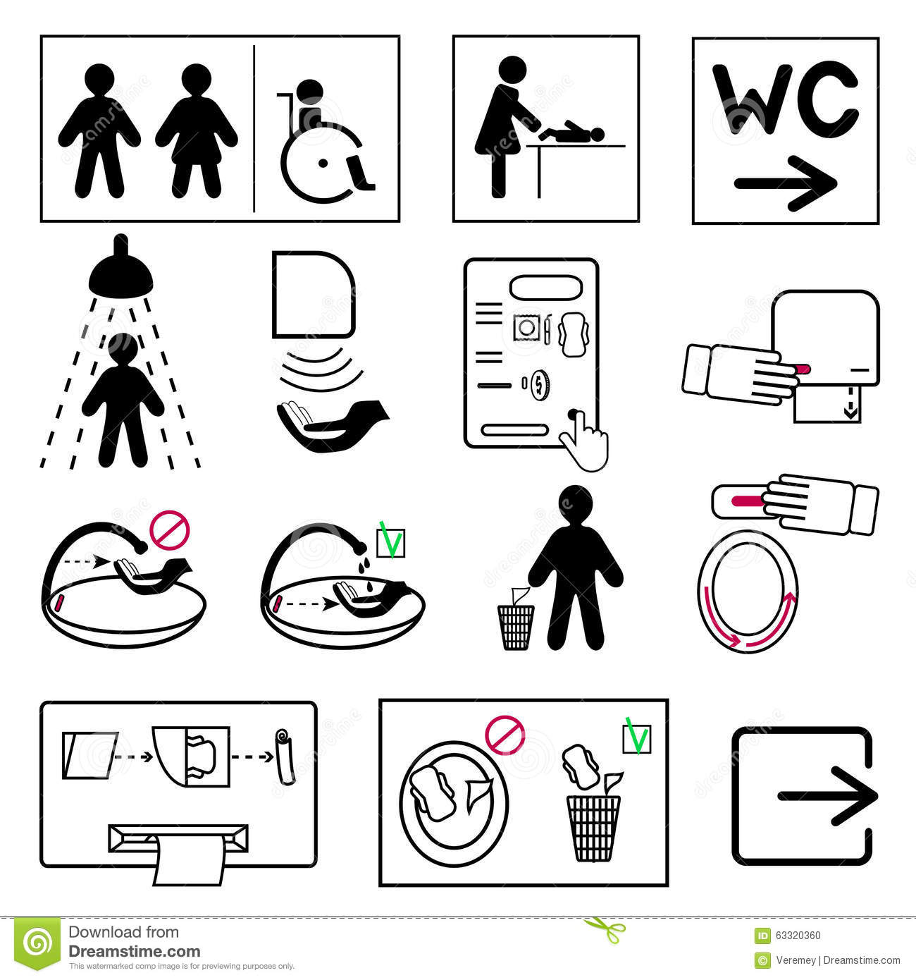 Sign Language For Bathroom: Set Of Toilet And Bathroom Signs For Public Places Stock