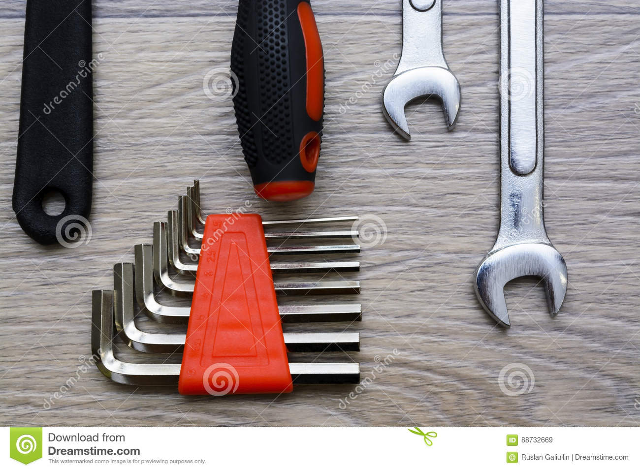 A Set With Tool On A Wooden Table. Hammer, Screwdriver, Gayachnye ...