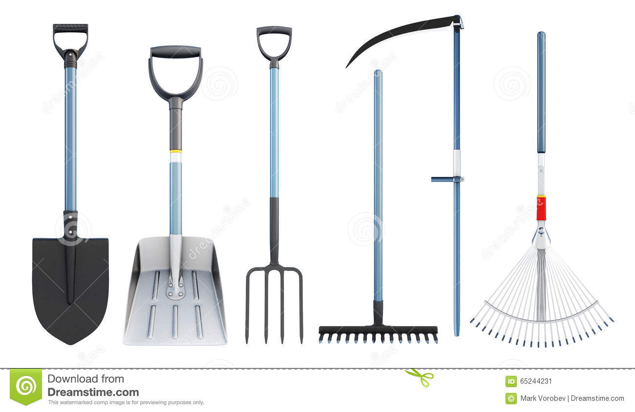 Set of tools for agriculture. 3d rendering.