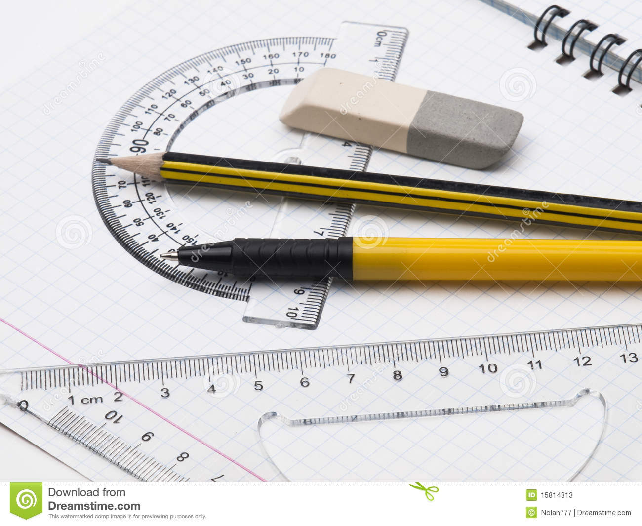 Set of tools for drawing on the workbook page stock image for Outil pour dessiner