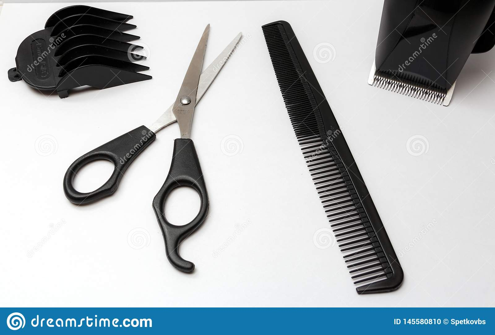 Set Of Tools For Haircut Scissor Comb Stock Photo Image Of Barber Hairstyle 145580810