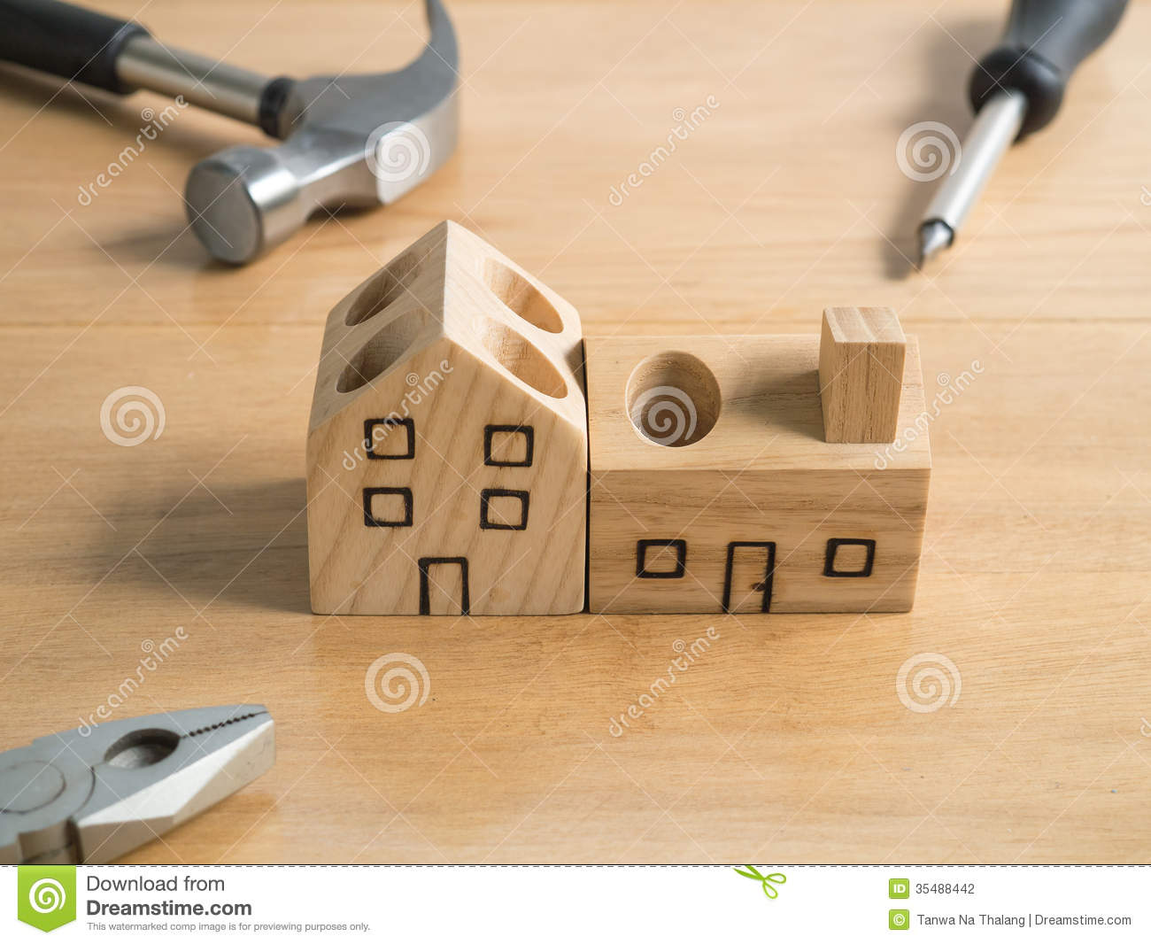 Set Of Tools And Handmade Wood House Toy Stock