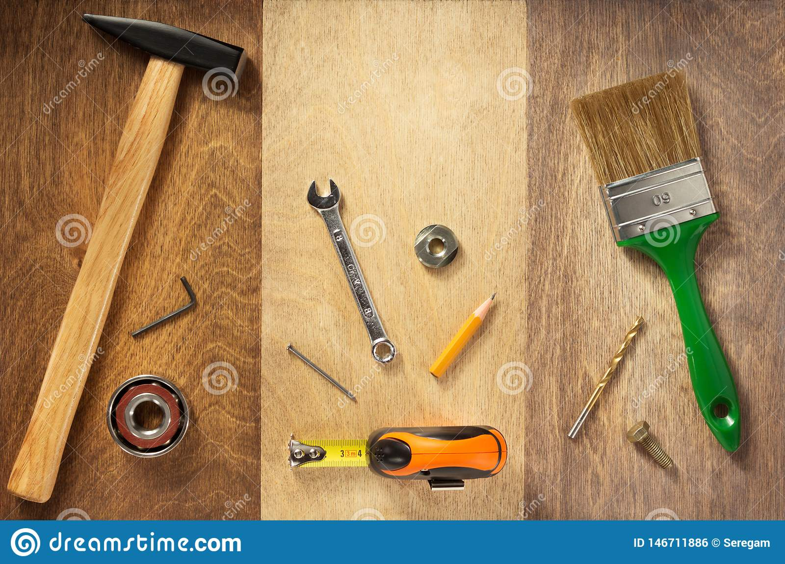 Set of tools and instruments on wood