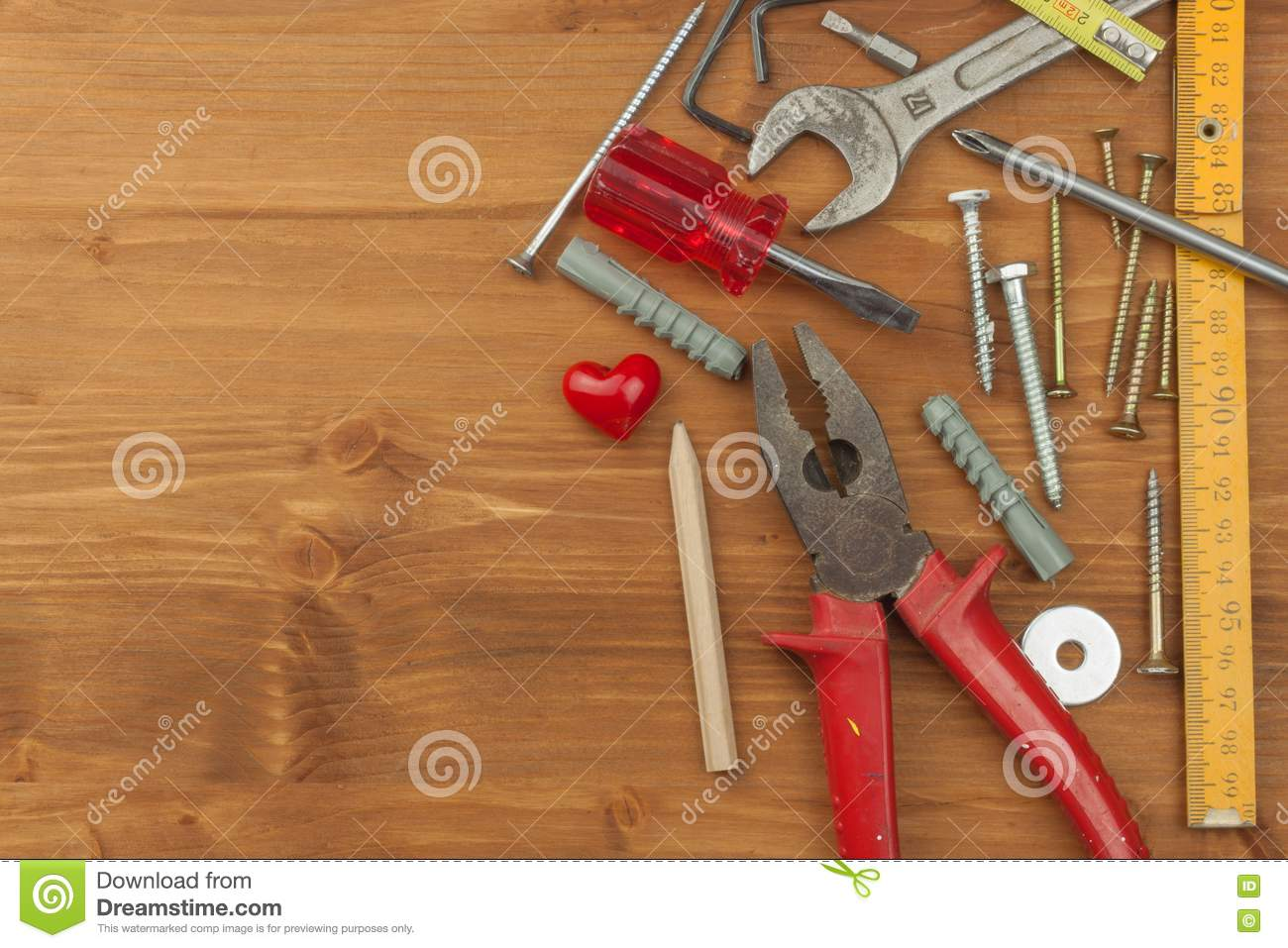 Set of tools and instruments on wooden background different kinds of tools for household chores - Household tools ...