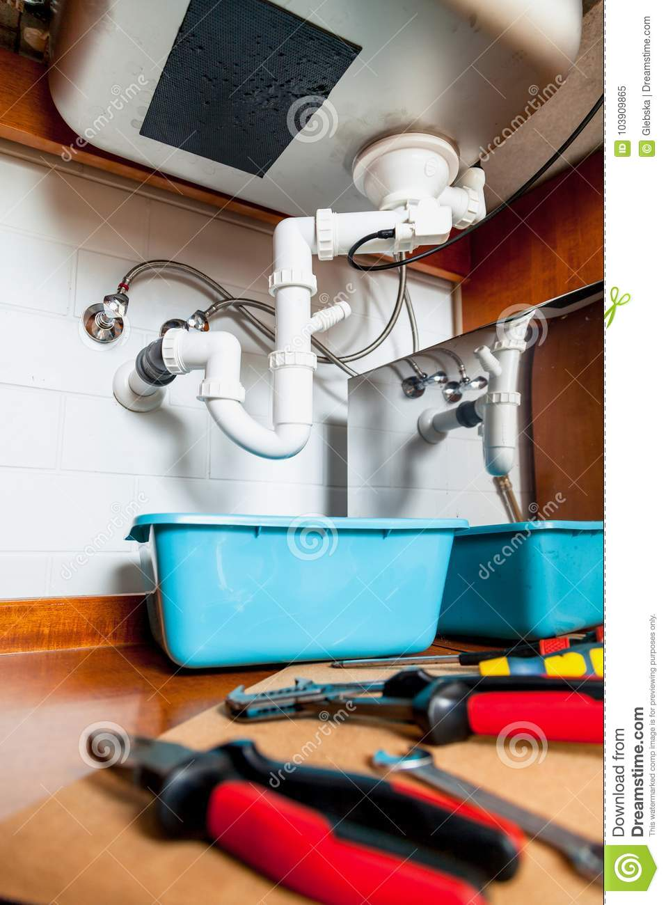 Set Of Tools For Repair Of Kitchen Sink Stock Image - Image ...