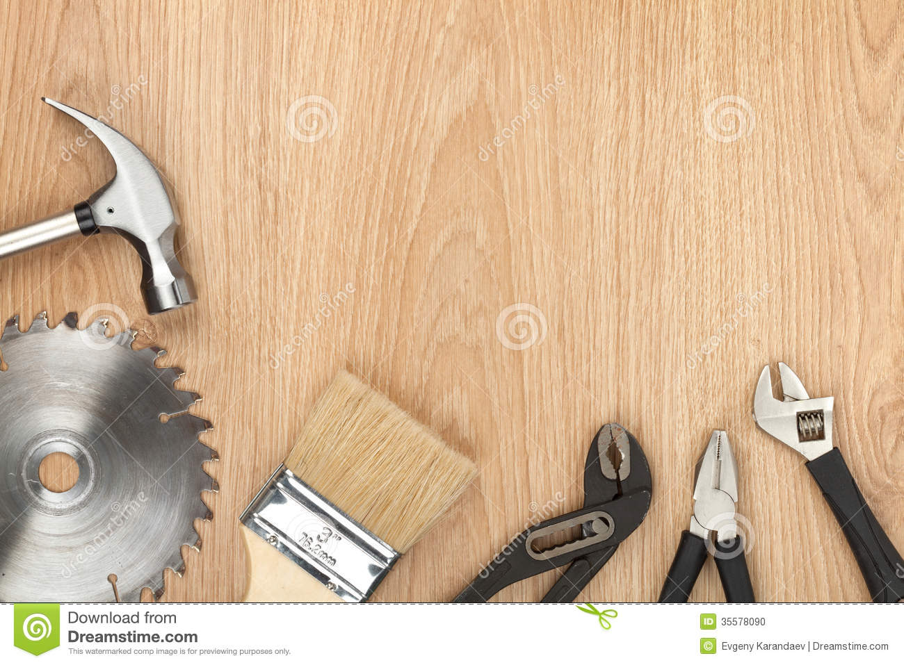 Set Of Tools On Wood Background Stock Photo - Image: 35578090
