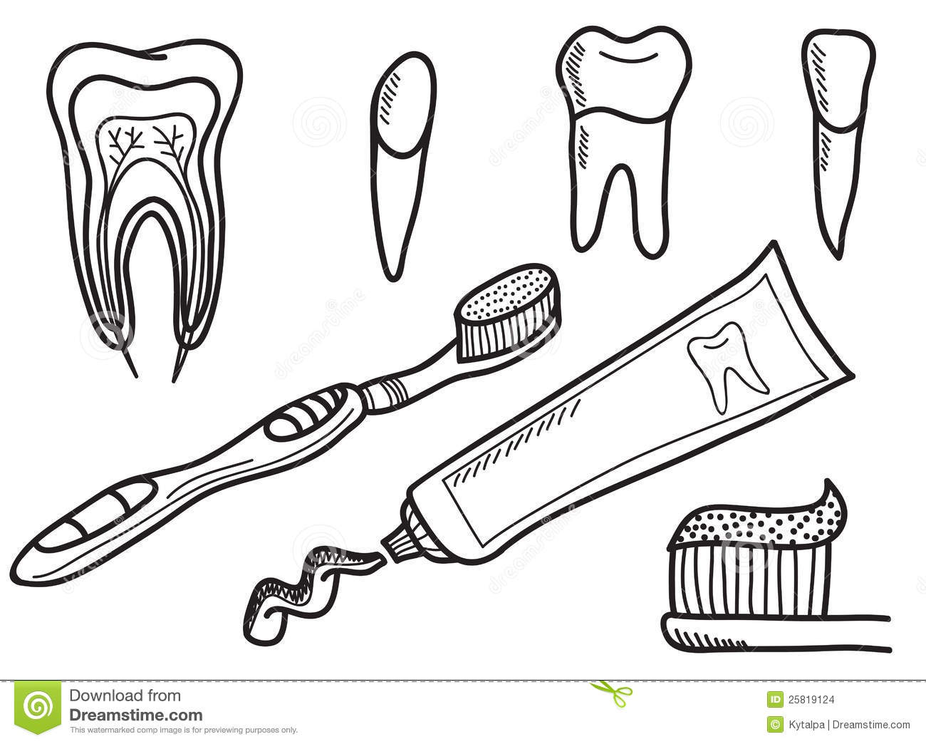 set of tooth brushing icons stock images image 25819124