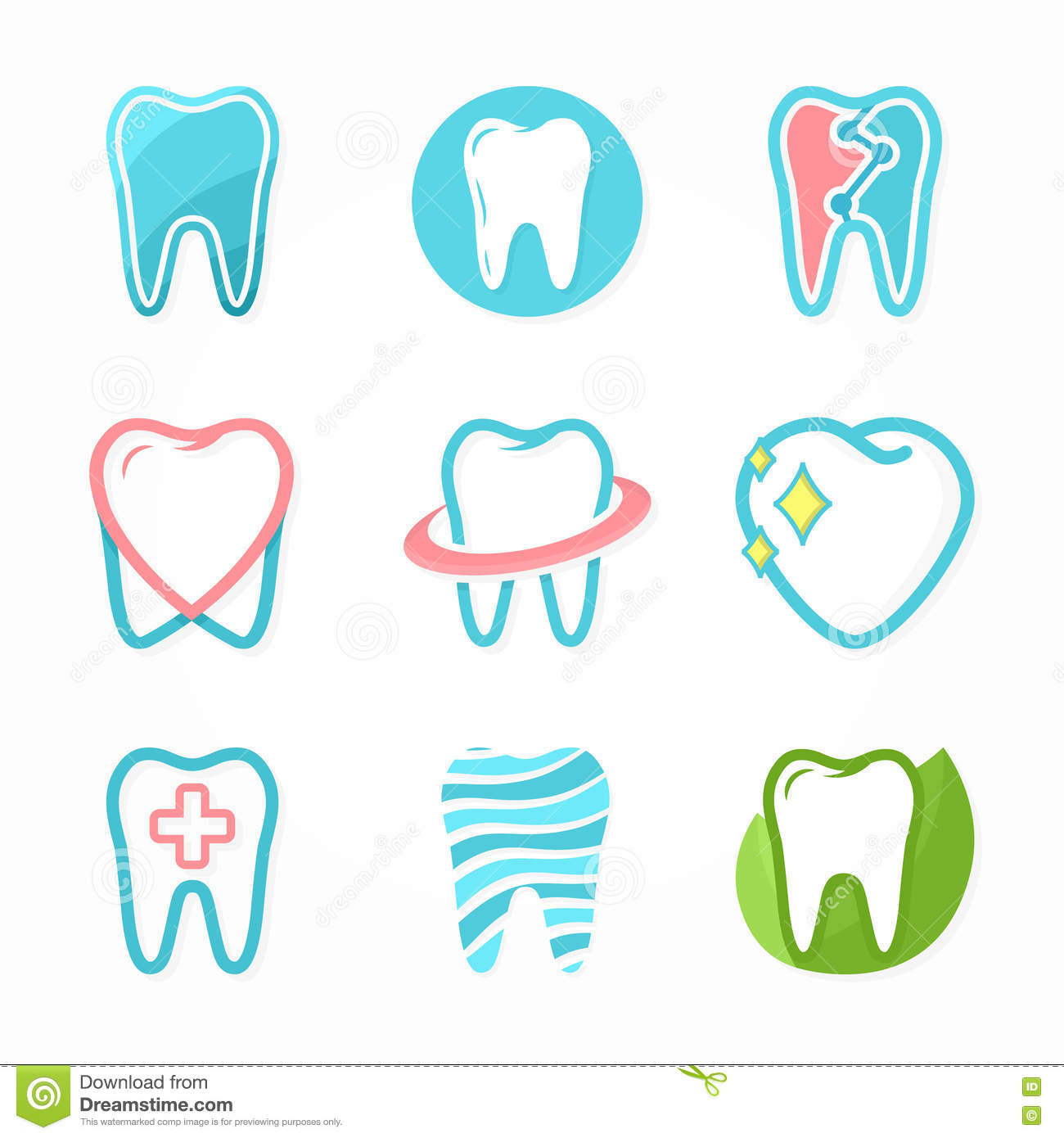 Set Of Tooth Logo Design Template Stock Vector Illustration Of