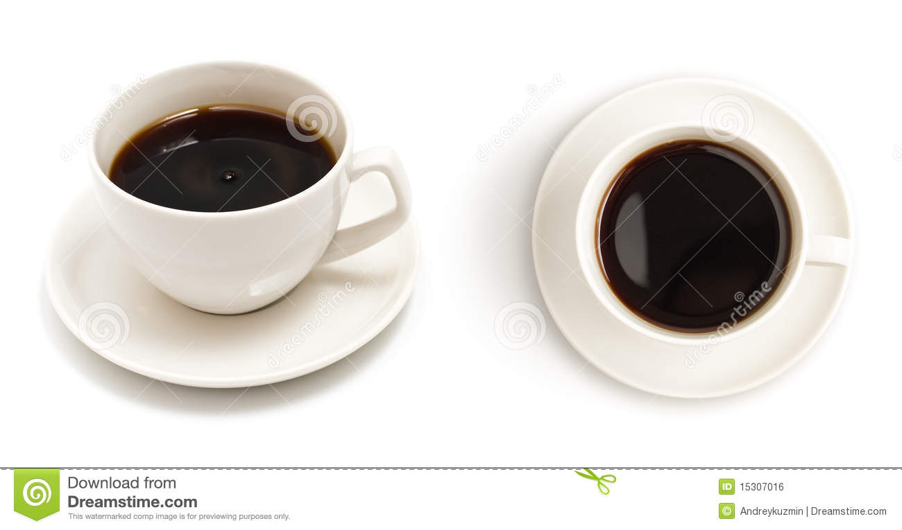 Set Of Top View Coffee Cup Isolated Stock Photo Image