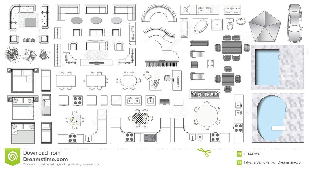 Icons set of interior stock vector illustration of - Living room layout planner ...