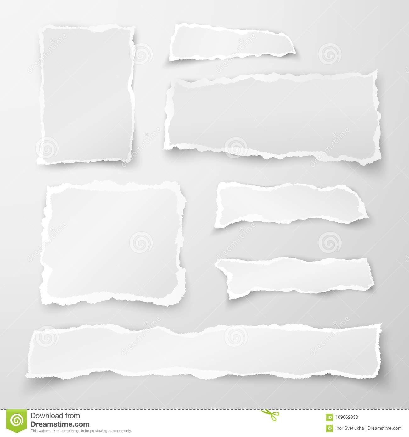 Set of torn paper pieces. Scrap paper. Object strip with shadow isolated on gray background. Vector