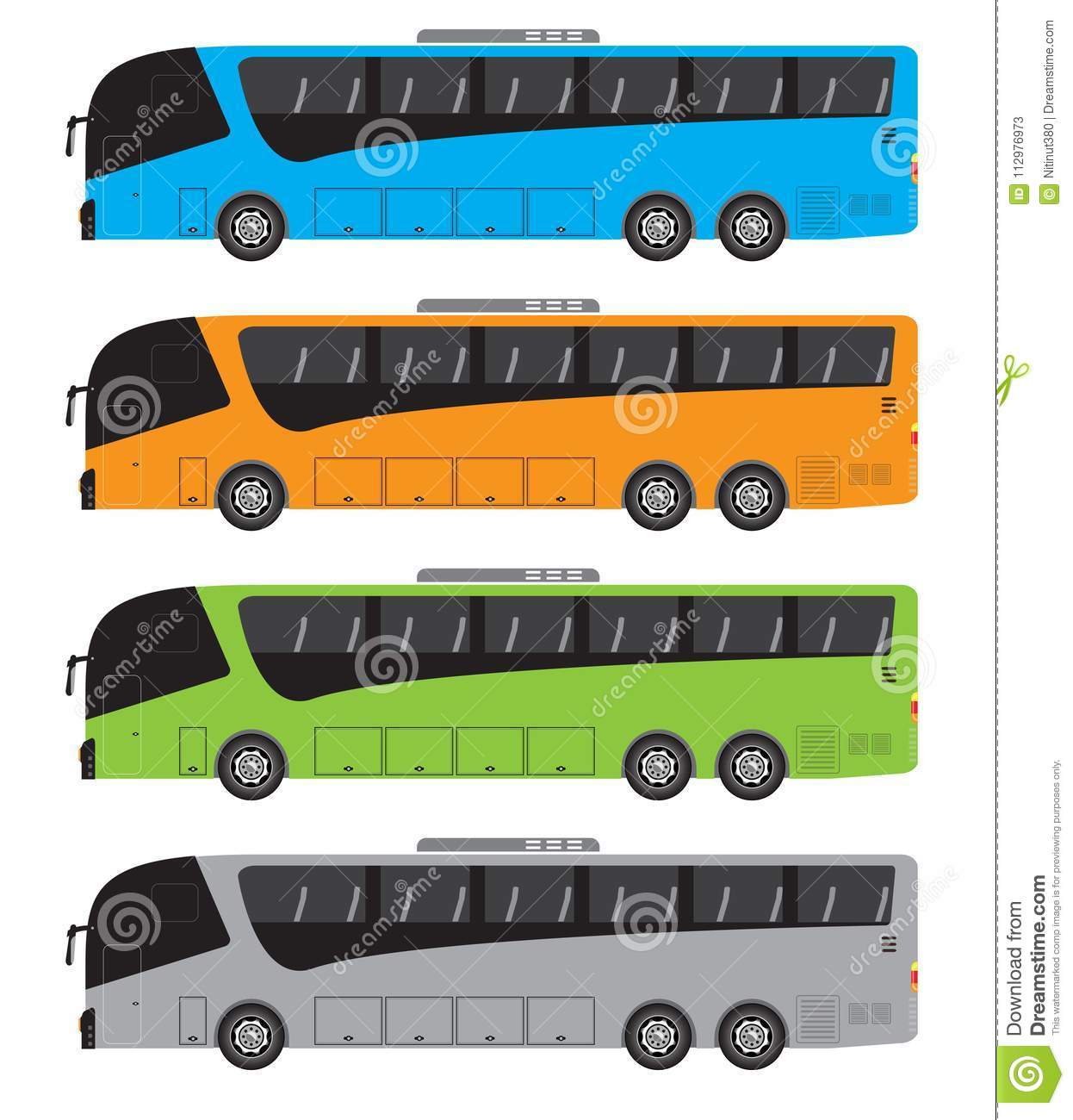 Set of Tour Bus or Intercity 15 Meter Bus Vector
