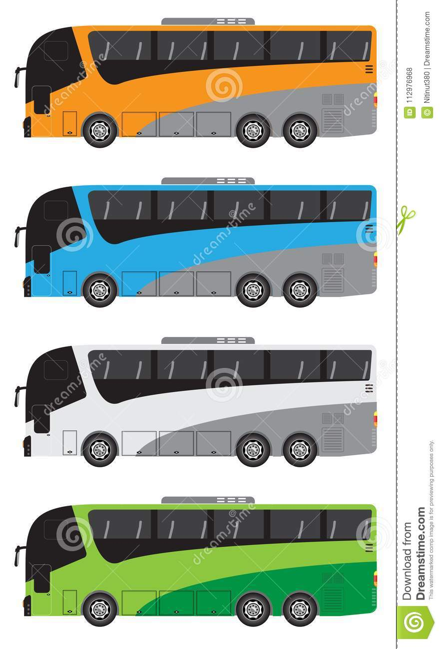 Set of Tour Bus or Intercity 12 Meter Bus Vector