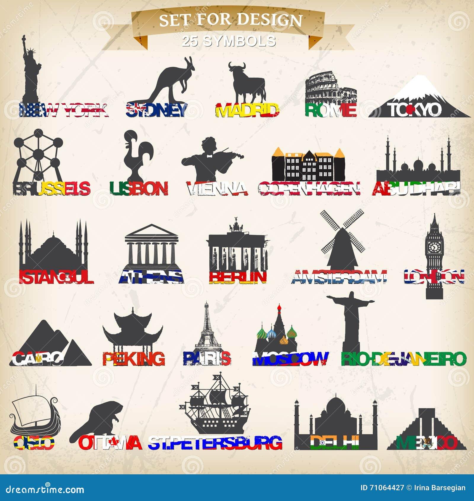 Set of tourist symbolsctor illustration stock vector set of tourist symbolsctor illustration biocorpaavc Images
