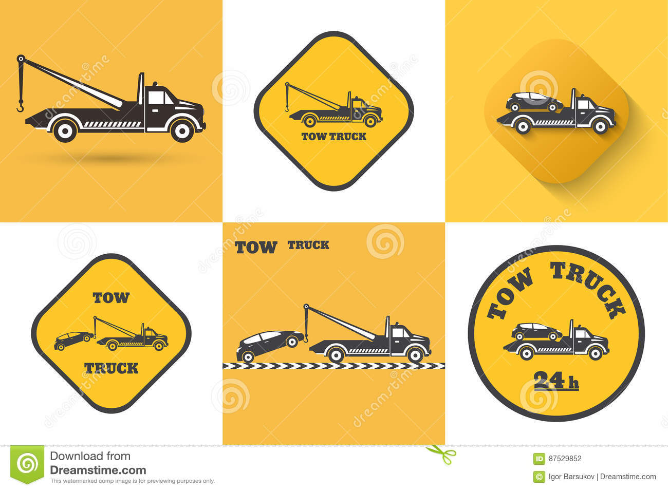 set of tow truck icon stock vector illustration of label 87529852