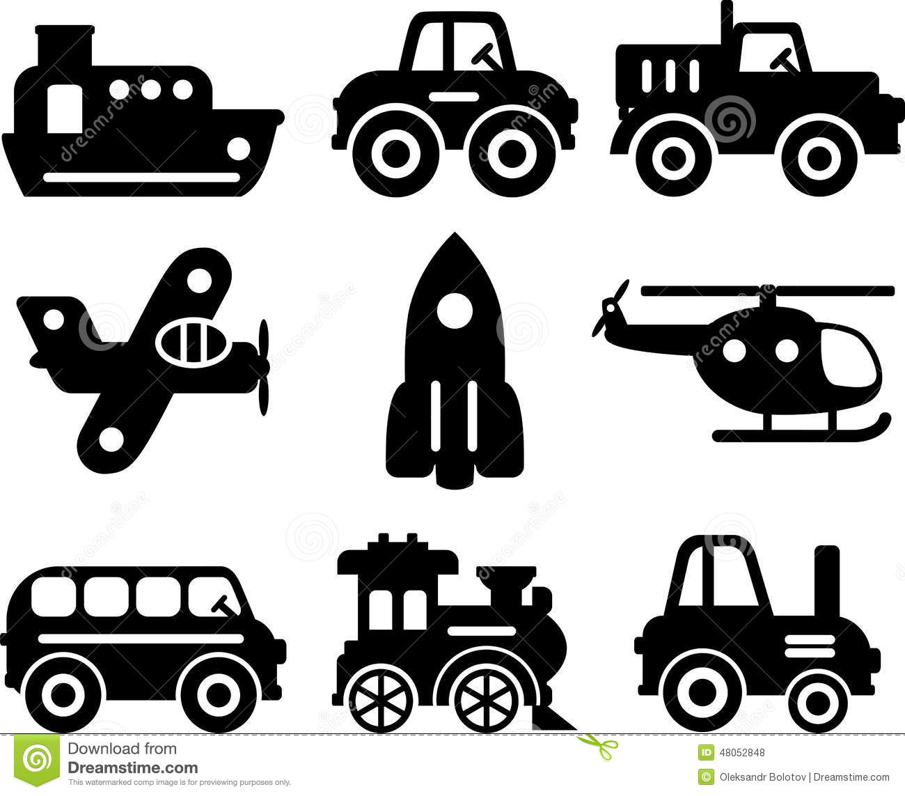 Set Of Toys Transportation Vector Silhouette Stock Vector