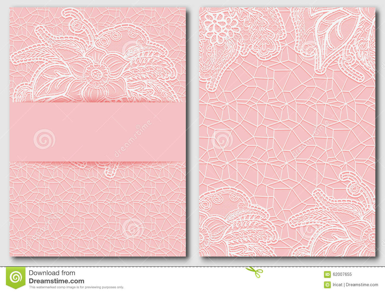 Set Of Tracery Pink Template For Creating Invitations And