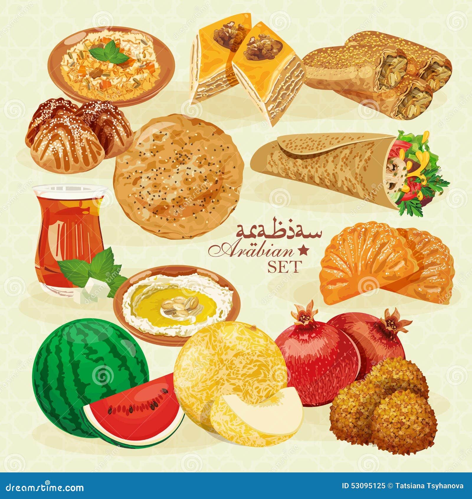 Set Of Traditional Arabian Halal Food Stock Vector - Image: 53095125