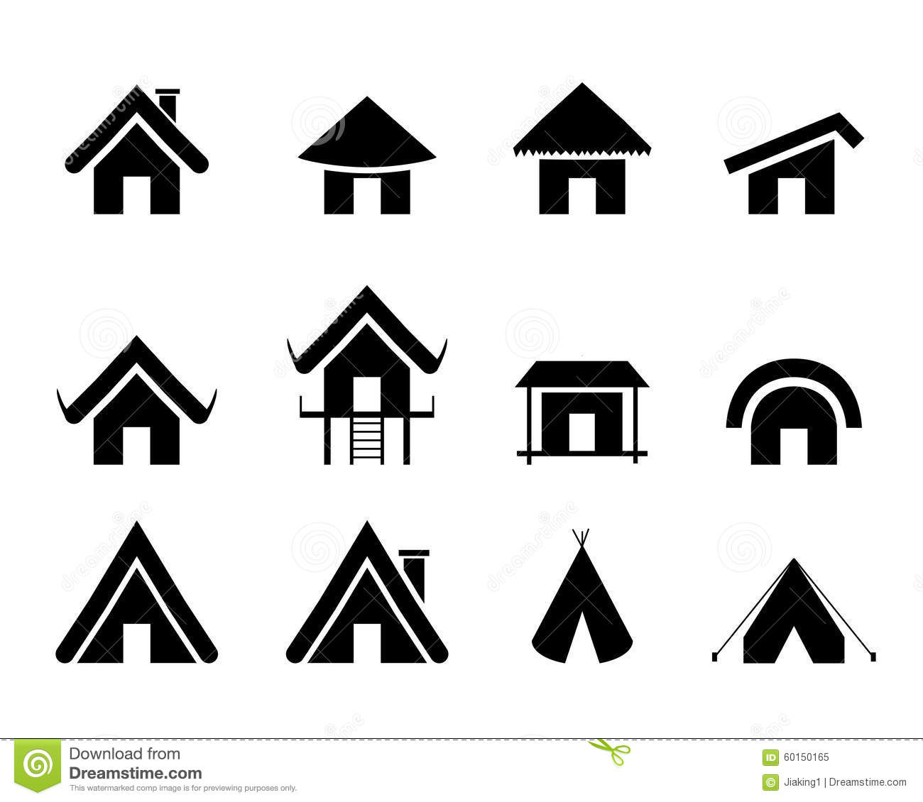 Set Of Traditional Home Icon In Minimal Stock Vector