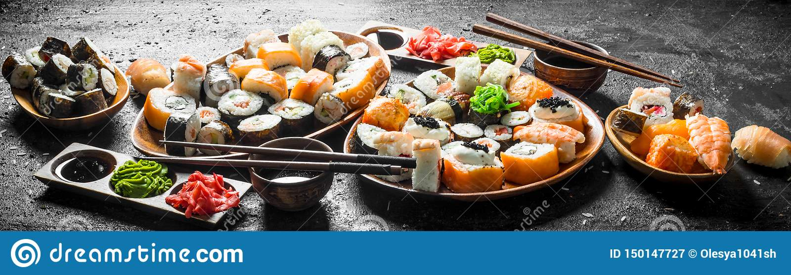 Set of traditional Japanese food sushi with soy sauce and ginger