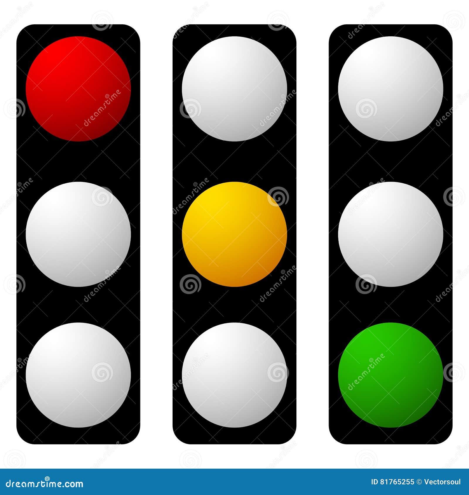 Set Of Traffic Lamp, Traffic Light, Semaphore Icons Stock ...