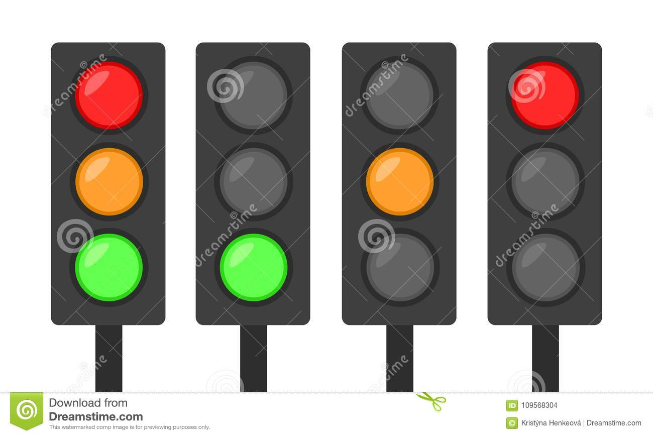 Set Of Traffic Lights Icon Red Green And Orange Simple Flat Desi ... for Traffic Light Red Icon  300lyp